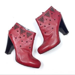 Nine West Ball Studded Leather Facade Ankle Boot